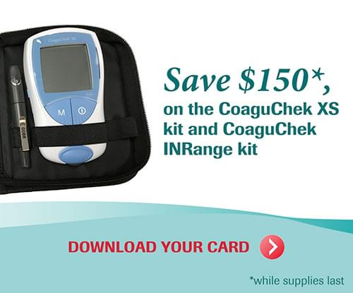 Save $150 on the CoaguChek XS kit and CoaguChek INRange kit